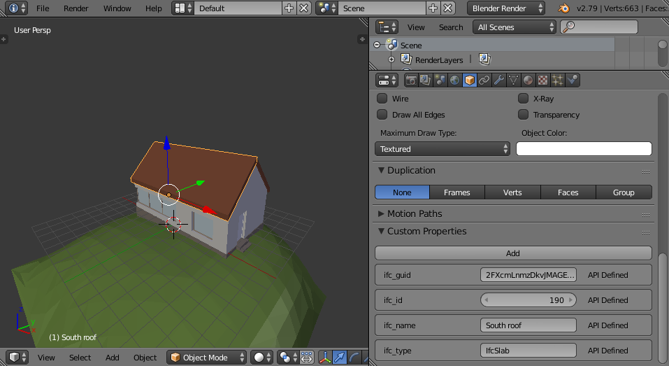 Blender IFC import showing basic IFC properties