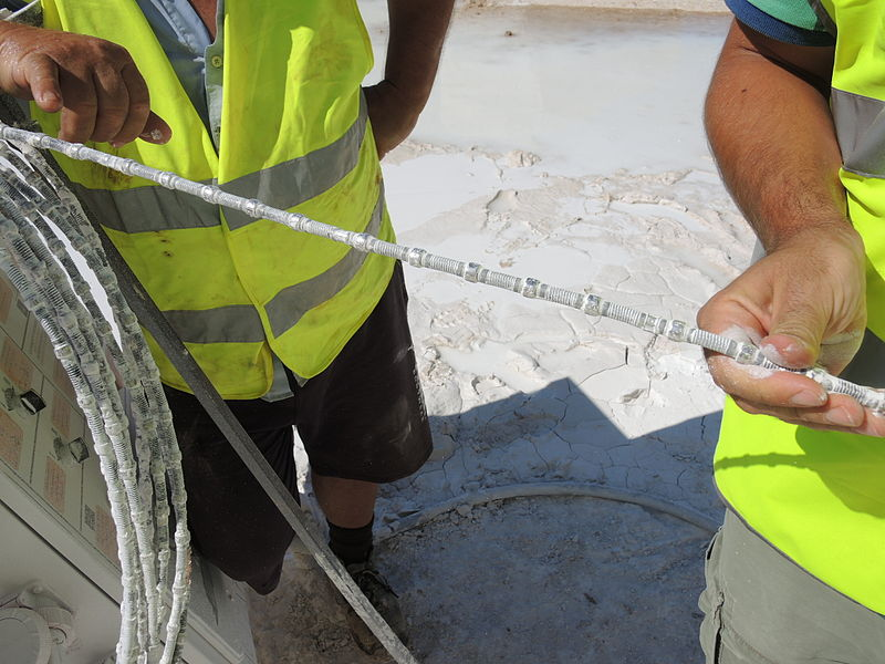 A diamond wire for marble mining