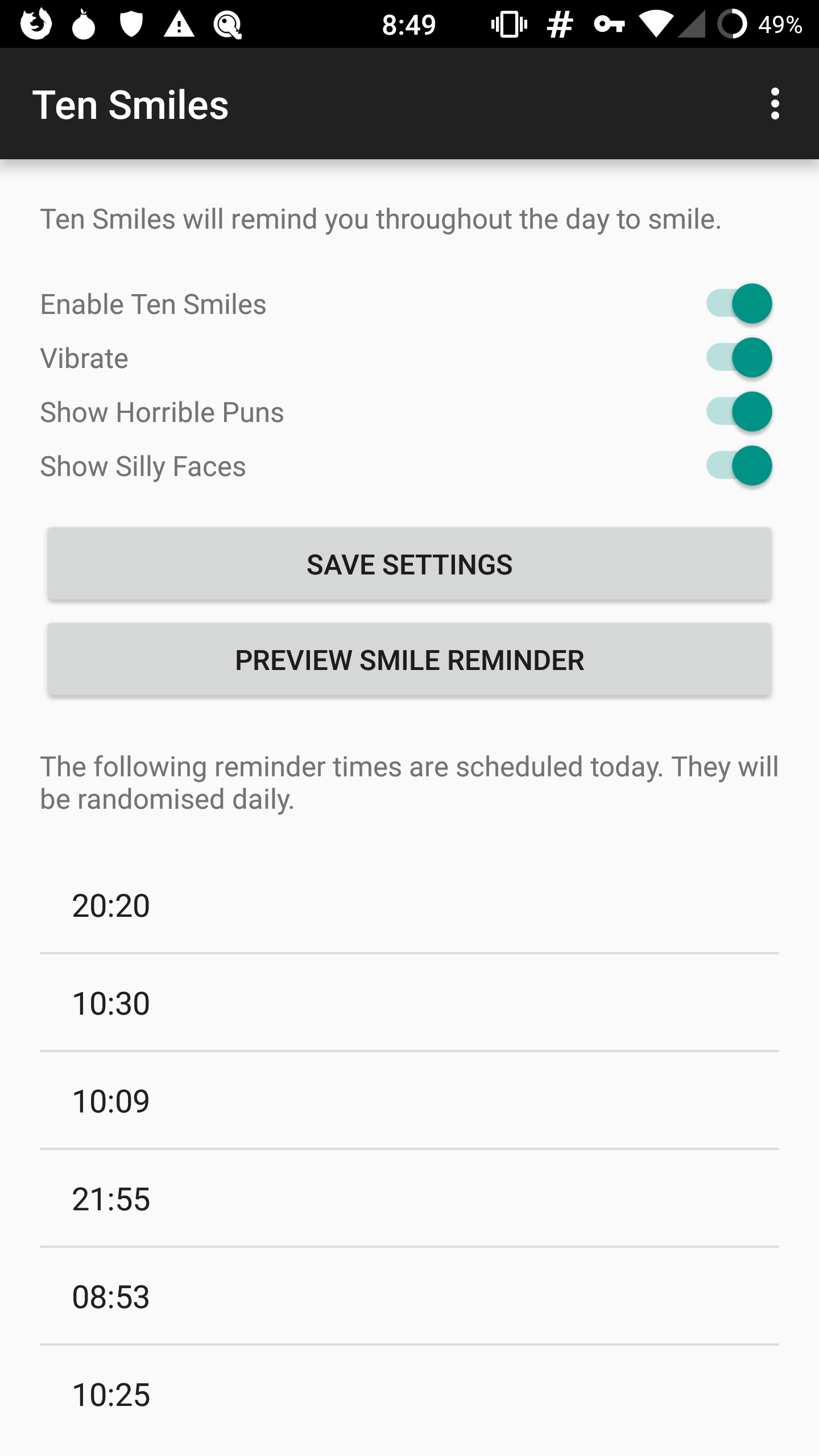 A small number of settings visible in the Ten Smiles app